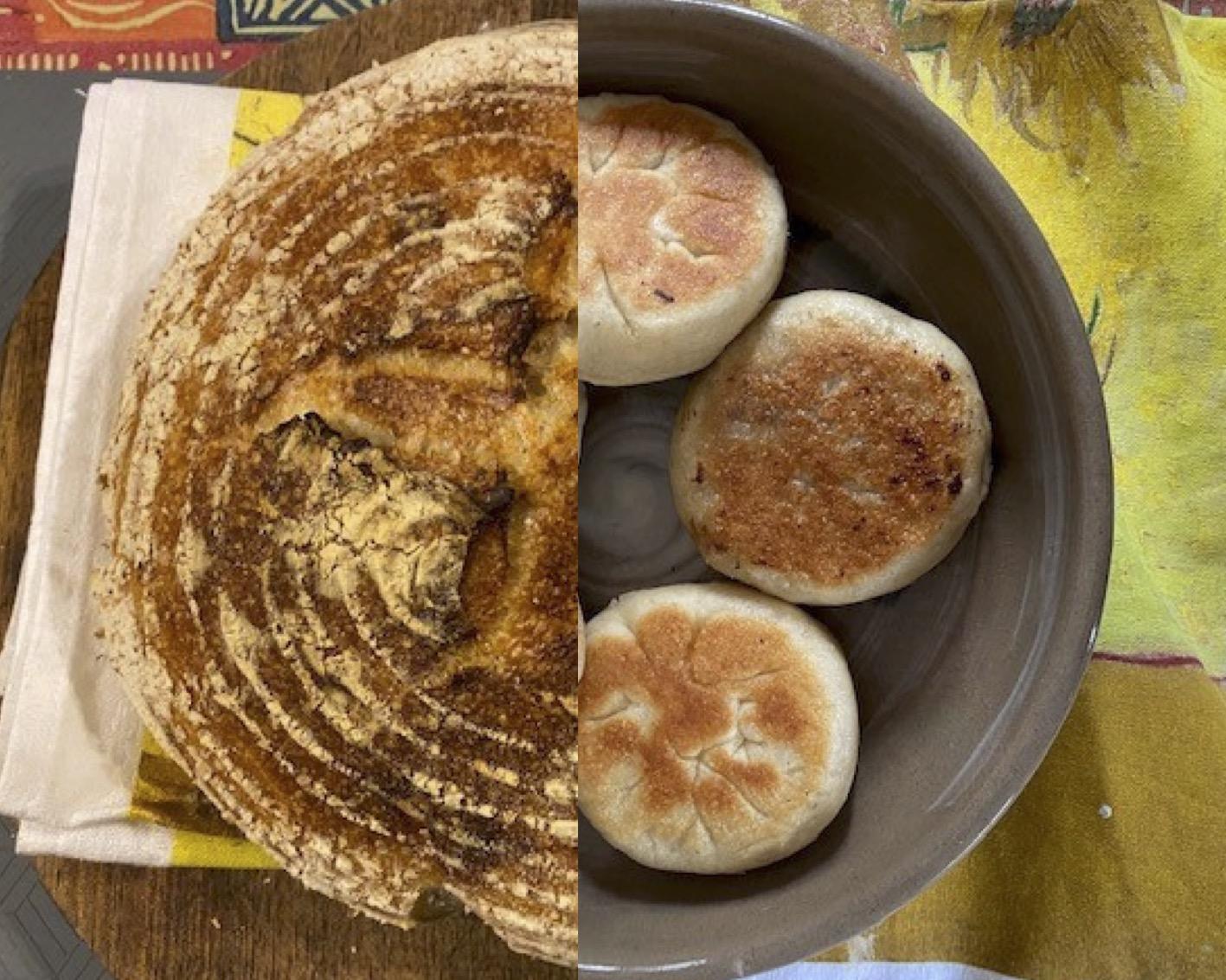 A split shot of Prof Bai's sourdough and meat buns.