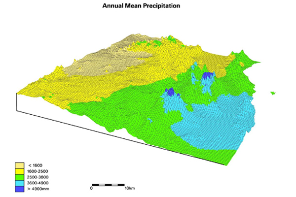 Annual mean precipitation over the coastal topography of northeast Queensland as mapped by ANUSPLIN.