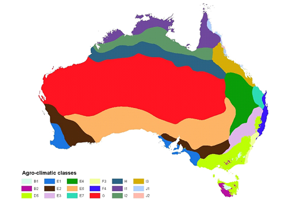 Agroclimatic classes mapped across Australia by ANUSPLIN