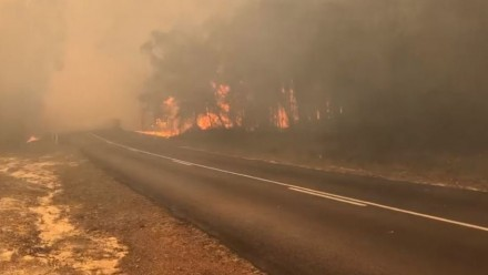 A fire burning near Yamba, in northern New South Wales, Australia.