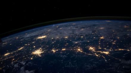 City lights of Earth from space