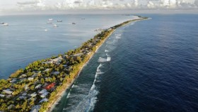 Tuvalu. 'In the western Pacific, sea levels rose faster than anywhere else in the world between 1993 and 2015, and by 2050 they will continue to rise by an additional 0.10–0.25 metres.'